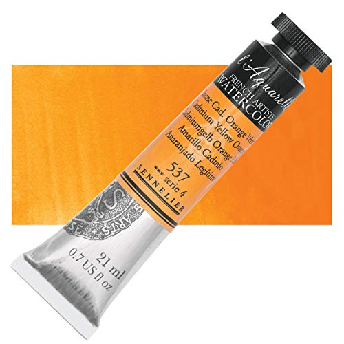 Sennelier L'Aquarelle French Watercolor, 21ml Tube, S4 Cadmium Yellow Orange