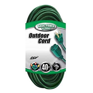 Coleman Cable 2356 16/3 Vinyl Landscape Outdoor Extension Cord, Green, 40 Foot