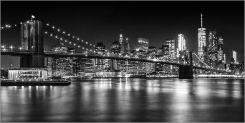 Posterlounge Acrylglasbild 80 x 40 cm: Skyline von New York bei Nacht Schwarz/Weiß von Melanie Viola - Wandbild, Acryl Glasbild, Druck auf Acryl Glas Bild
