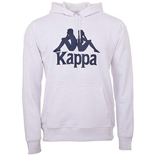 Kappa Herren Taino Sweatshirt Authentic | Kapuzenpulli, Retro-Look Hoodie, Pullover Sweater Long-Shirt, Regular fit, 001 white, Größe L