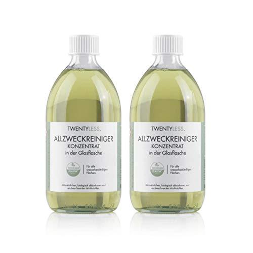 Twentyless Allzweckreiniger 2er-Nachfüllset | Natürliches und ergiebiges Reinigungsmittel als Reinigungskonzentrat | 2 Glasflaschen je 500ml ersetzen 40 Plastikflaschen