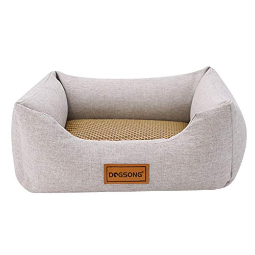 LIAOER Cat and Dog Bed for Small Medium Pets, Removable Washable Cat Dog Resting Bed, Portable Pet Mat Pet Blanket, Indoor Pet Sofa Bed-Light gray mat_M