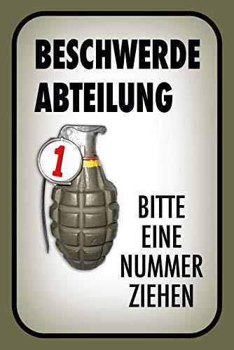 FS Beschwerde Abteilung Bitte eine Nummer ziehen Blechschild Schild gewölbt Metal Sign 20 x 30 cm