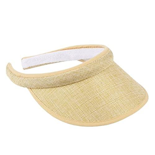 Shihuawu Sombrero Moda Sombrero de Playa Gorra de béisbol al Aire Libre Sombrero Plegable Mujer Verano Sombrero para el sol-Beige-A56-G0595
