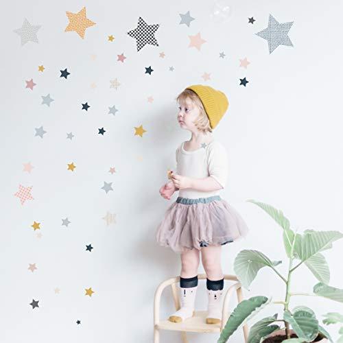greenluup Graz Design - Adhesivo decorativo para pared, diseño escandinavo, 80 estrellas