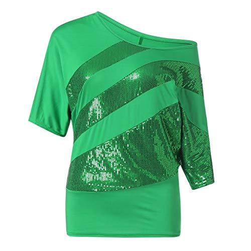 Zimuuy Zimuuy Damen Sommer Bluse, Frau Plus Größe Beiläufiges Pailletten Schulterbluse Kurzarm T Shirt Oberteile (M, Grün)