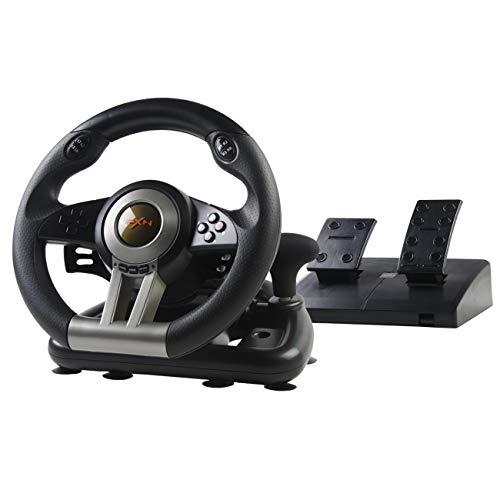 PXN V3II Volante de Juego de Carreras con Pedales Ajustables, 180 ° USB Universal Volante Gaming de Coches para PC, PS3, PS4, Xbox One, Nintendo Switch - Negro