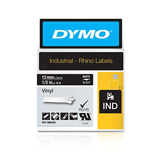 DYMO Industrial Rhino Black Vinyl Tape,White on Black,12mm(1805435), DYMO Authentic