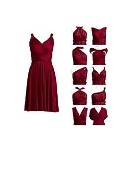 Burgundy Convertible Infinity Dress Transformer Short Cocktail Wrap Dress for Bridesmaid