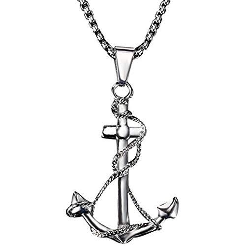 NC110 Vintage Viento Marino Cuerda de Acero Inoxidable Colgante de Ancla de Barco Personalidad Hombre Mujer Ancla de Barco Collar de Titanio joyería YUAHJIGE