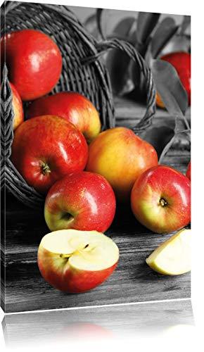 Pixxprint Umgefallener Korb mit roten Äpfeln ALS Leinwandbild/Größe: 100x70 cm/Wandbild/Kunstdruck/fertig bespannt