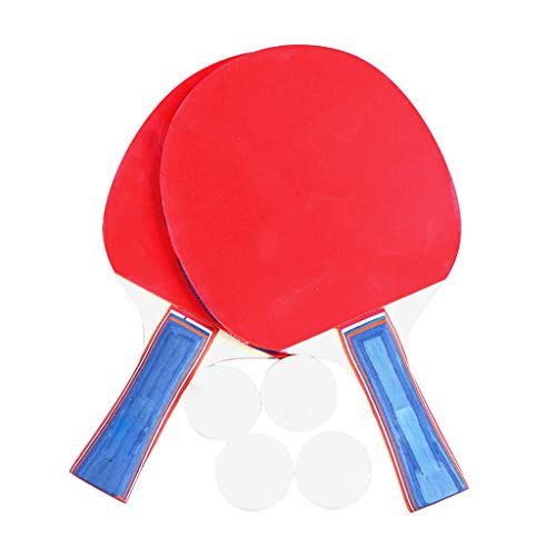 New YJYdadaS 2PCS Double Player Professional Table Tennis Racket Paddle Bat +4pcs Balls Set, for Hom...