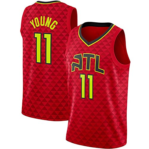 OLJB Trae Young Trikots Nr. 11 Atlanta Hawks, atmungsaktives Netz-Basketball-Sport-Unterhemd, atmungsaktiv und bequem, das beste Geschenk für Erwachsene, rot-L