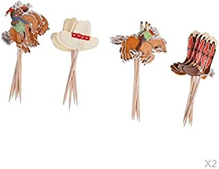 Prettyia 48pcs Lovely Paper Cowboy Cupcake Picks Food Sticks Baby Shower Birthday Party Decor