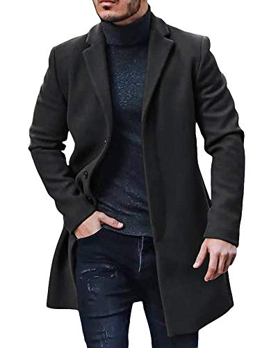 Men's Long Trench Coat Slim Fit Topcoats Business Notch Lapel Single Breasted Overcoat Winter Cotton Blend Jacket