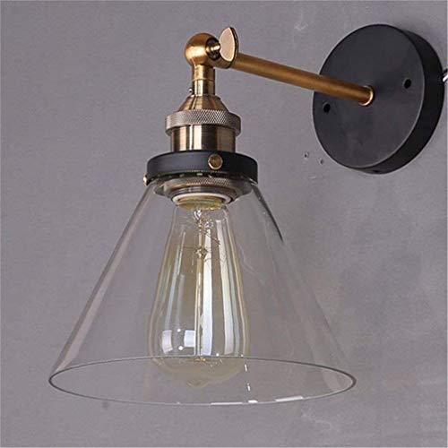 Lightess Apliques de Pared Lámpara Vintage Lámpara Industrial Estilo Retro Iluminación Rústico Casquillo E27 Lámpara de Pared No Incluye Bombilla, Color Transparente