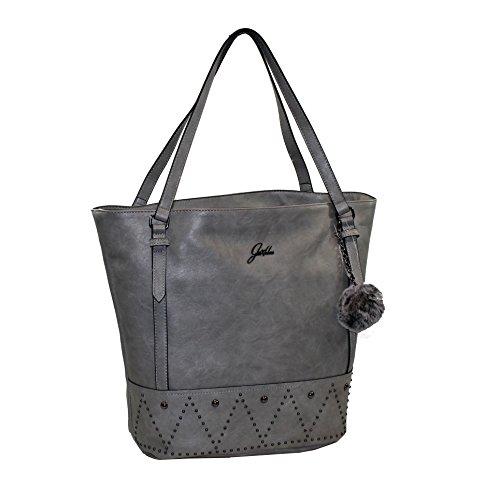 Glüxklee Henkeltasche Handtasche mit Bommel (metallic)