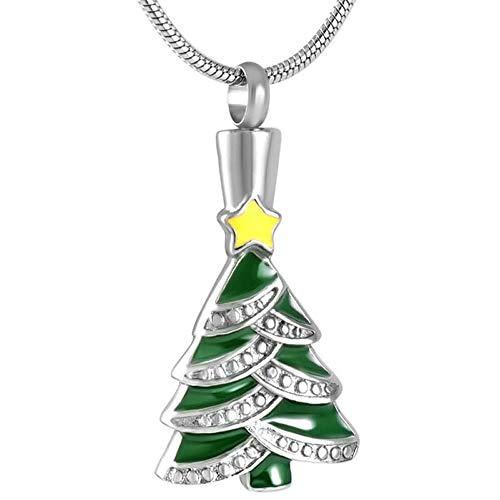 TIANZXS Weihnachtsbaum Geschenk Feiern Halskette Edelstahl Esche Halter Andenken Urnen Anhänger Halskette