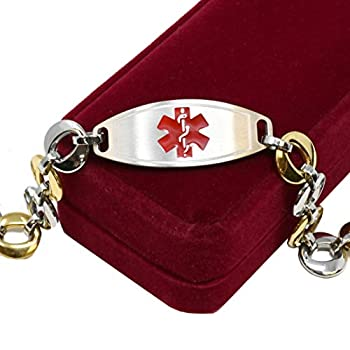 My Identity Doctor Medical Bracelet for Women with Free Engraving Stainless Steel Personalized Medic ID Custom Sized 1.5cm Gold Tone Chain Red Alert | Made in USA - Wrist Size 7 inch