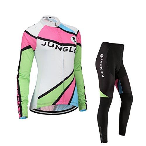 (Cojín 3D)(traje tamaño:M) larga maillot para de chaleco rompevientos ciclismo Moda Jerseys...