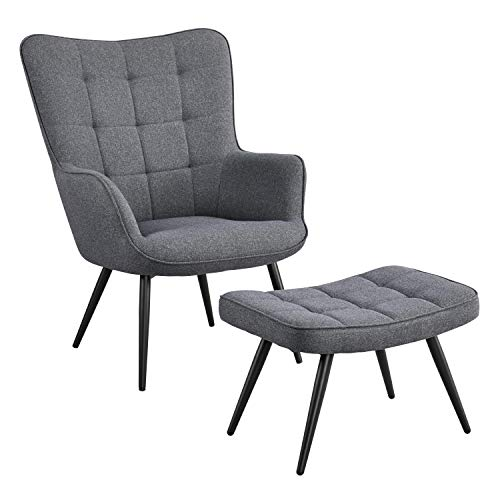 YAHEETECH Modern Fabric Living Room Chair Accent Chair Set Casual Upholstered Armchair with Footrest Single Sofa Club Chair and Ottoman Set for Living Room Bedroom Office Small Spaces, Grey