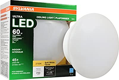 SYLVANIA General Lighting General 75080 60W Equivalent Ultra LED Base Fixtures-2700K (Soft White) Sylvania 10 watts 2700K E26 Medium Screw Non Dimmable Retrofit Ceiling Light Bulb