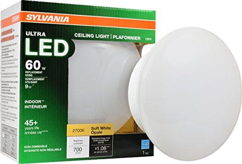 LEDVANCE General 75080 60W Equivalent Ultra LED Base Fixtures-2700K (Soft White) Sylvania 10 watts 2700K E26 Medium Screw Non Dimmable Retrofit Ceiling Light Bulb