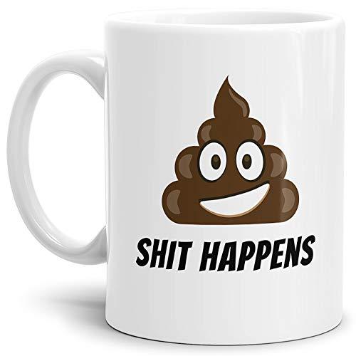 Tassendruck Tasse -Kackhaufen- mit Spruch: Shit Happens - Weiss -/Smiley/Shit/Kacke/Lustig/Witzig/Spaßig/Mug/Cup/Beste Qualität - 25 Jahre Erfahrung