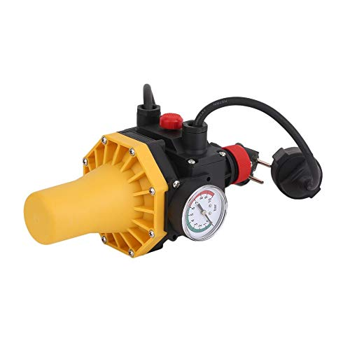 Triamisu PC03.C Kurzschlussschutz Wasserpumpe Automatische Druckregelung Elektronischer Schalter mit Manometer-Steckdosen - gelber EU-Stecker