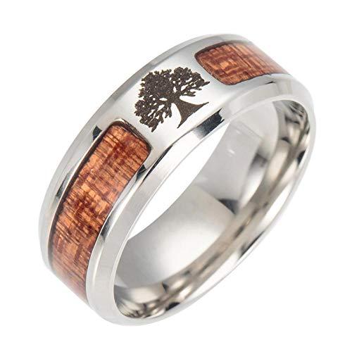 LIDAYE Nuevo Amuleto de runas, Anillo de árbol de la Vida para Hombres, Anillos de semicírculo de Madera con Mosaico de Acero Inoxidable para Mujeres, Regalo de joyería para Hombres, 7 árbol de Vida