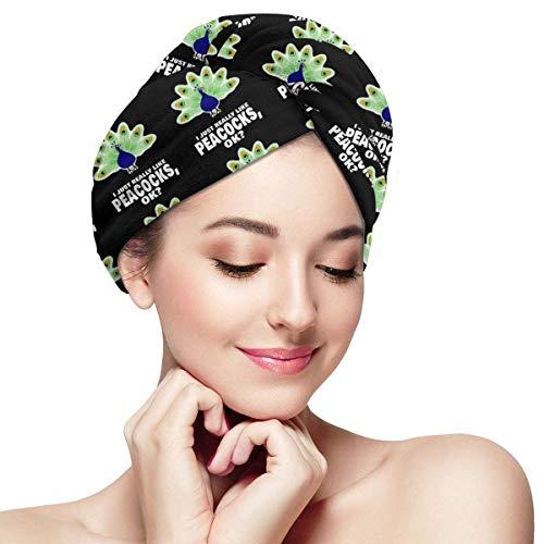ALaze J'aime Vraiment Vraiment Les paons en Microfibre sèche Cheveux Chapeau Bonnet de Douche tête Serviette Turban