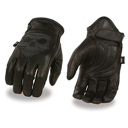Men's Leather Gloves w/ Reflective Skull Design & Gel Palm (X-Large)
