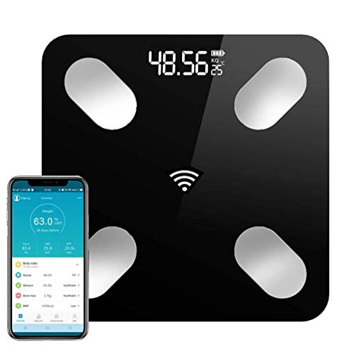 Báscula de Peso Digital Inteligente Bluetooth, Báscula Corporal Grasa y Musculo, App Profecional de Monitores de Grasa y Composición Corporal,17 Indicador de Salud, Compatible con Las Aplicaciones de iOS y Android