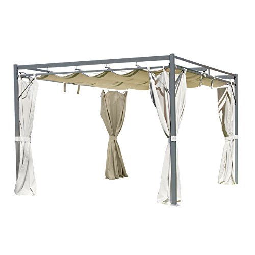 greemotion Pavillon Dallas anthrazit/beige, inklusive Seitenteile mit UV-Schutz 50+, Gartenpavillon mit verschiebbarem und PA-beschichtetem Dach 220g/m², Maße: ca. 300 x 350 x 235 cm