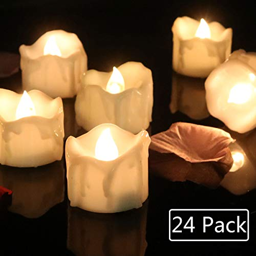 Cozeyat 24pcs Wax-drip Battery Operated Tea Lights, Flameless Votives, Flickering LED Candles for Dinner Table Setting, Centerpiece, Wedding, Anniversary, Birthday Party