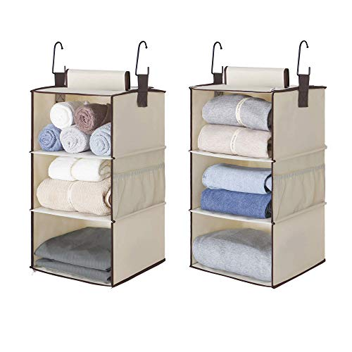StorageWorks 6-Shelf Hanging Closet Organizers, Two 3-Shelf Separable Closet Hanging Shelves, Canvas, Ivory, 12