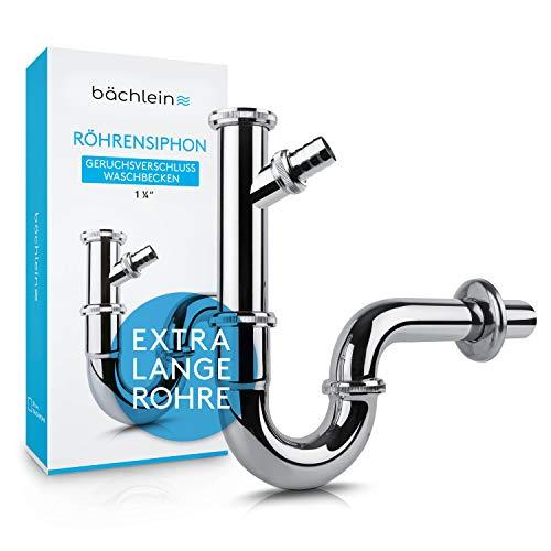 Premium Röhrensiphon fürs Waschbecken (Extra_Lang 200mm + Geräteanschluss)