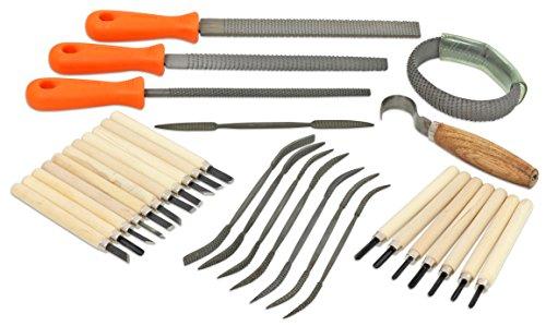 Speckstein-Werkzeug im Set, 31 Teile, Raspel, Schnitzwerkzeuge und Messer - Kunst-Unterricht Kinder