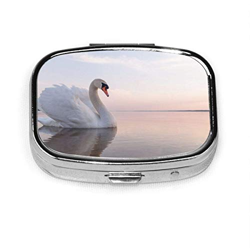 Swans On The Lake Fashion Square Pill Box Vitamin Medicine Tablet Holder Wallet Organizer Case