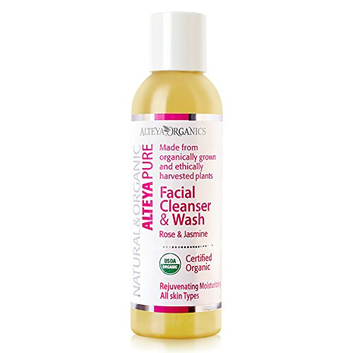 Alteya Organic jabón líquido limpiador facial y lavado 150ml – rosa y jazmín – con certificado orgánico USDA, jabуn biodegradable - producto natural terapeutico – apto para todo tipo de piel