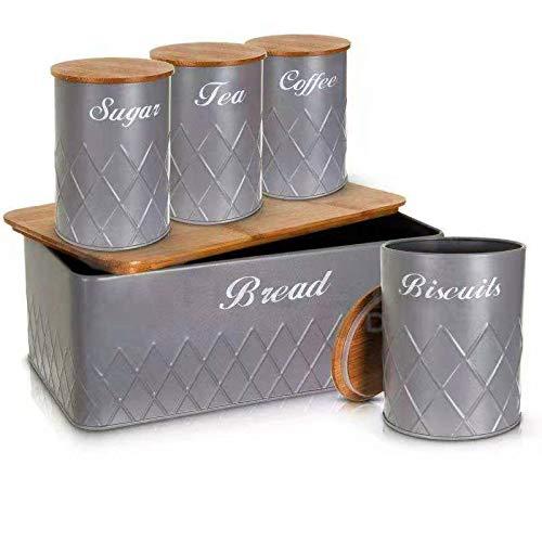 UK-TECH Juego de 5 latas de almacenamiento de cocina con tapa de bambú para té, café, azúcar, tarros para almacenar alimentos y elementos esenciales (gris)