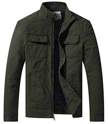 WenVen Men's Spring Cotton Casual Canvas Military Jacket, Army Green,M