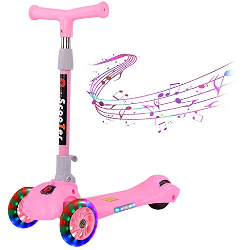 Amazing Deal Kick Scooter for Boys & Girls 3 Wheel Scooter, Kick Scooter for Kids Adjustable Height, with LED Light PU Wheels & Adjustable Heights,Toys for Children 2 and Up(4 Color to Choose) (Pink)