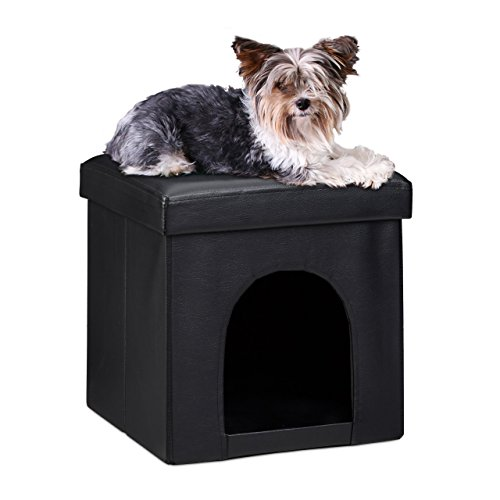 Relaxdays 10019046 Maison pour petits chiens et chats pliable pliante banc en similicuir confortable Tabouret abri panier malle cube niche HxlxP : 38 x 38 x 38 cm repose-pieds couvercle amovible, noir