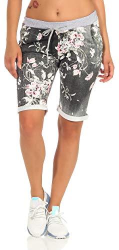 CLEOSTYLE Kurze Damen Bermuda, leichte luftige Hose für den Sommer, kurzer Jogger für Freizeit und Strand 9 (Schwarz/Blume 1)