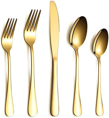 Black Flatware Set 20 Piece Service for 4, Black Titanium Plated Stainless Steel Silverware set Service for 4 (Shiny, Black)