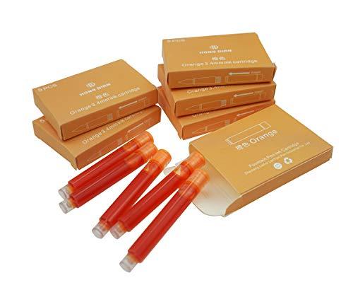 Cartuchos de tinta Hongdian para pluma estilográfica, diámetro de 3,4 mm, 30 cartuchos de tinta de color naranja