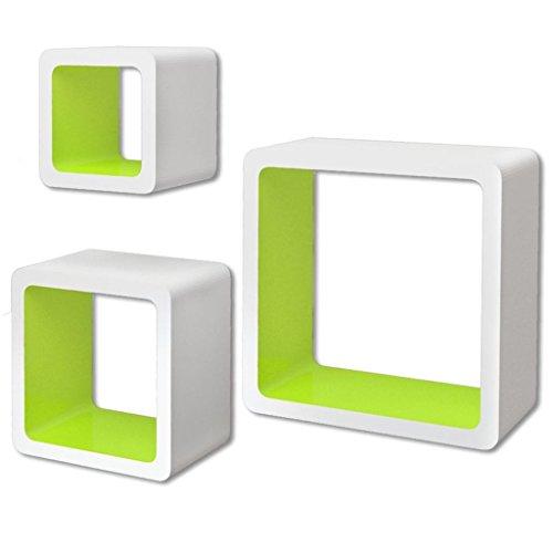 vidaXL Set de Estanterías de Pared Forma de Cubo MDF Blanco y Verde Estantes
