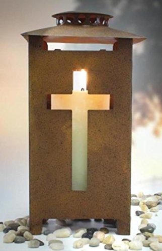 Trauer-Shop Grablaterne rost mit Kreuz Licht Design auf jeder Seite. Höhe 25cm. 1 Stück