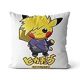 Impression 3D Coussin de Chaise Pikachu Pokemon Jaune, Pokémon Jaune Jeu de rôle Aventure Solo Coussin canapé Coussin 50x50cm Coton et Lin Coussin de Voiture pour la Maison